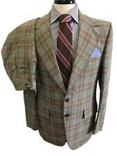 Vintage Mid Century Louis Roth Plaid Hipster Designer Suit Size 40L
