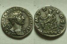 Rare original Ancient Roman silver Coin denarius Hadrian Salus serpent Ephesus