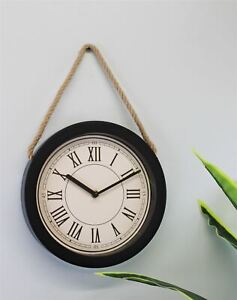 Small Rustic Wall Hanging Clock Roman Numerals Rope Traditional Home Decor