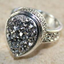 SILVER Vintage Style Silver Gray Rainbow Titanium Druzy Teardrop Ring Size 6