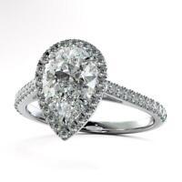 2.50Ct pear Diamond Halo Engagement & Wedding Ring 14k White Gold Finish