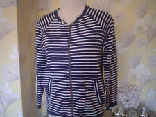 JACK WILLS SIZE 8 NAVY BLUE & WHITE STRIPED CARDIGAN BOMBER JACKET SIZE UK 8 VGC