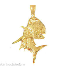 New 14k Yellow Gold Mahi Mahi Fish Pendant