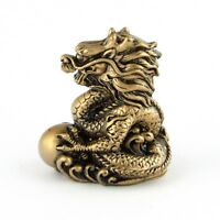 Chinese Zodiac Golden Dragon Statue Figurine FengShui Animal Bronze Color 4in