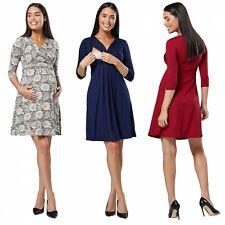 HAPPY MAMA Women's Maternity Nursing 2in1 A-line Dress 3/4 Sleeves 1118