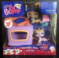 Littlest Pet Shop Portable Pets #932 Dachshund Dog #933 Purple Pink Cat Gift Set