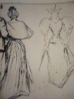 Paul RENOUARD 1845-1924 GRAVURE ORIGINALE IMPRESSIONNISME FEMME ROBES MODE 1900