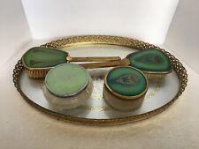 Vintage 5 Pc Green Lucite vanity dresser set