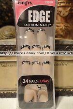 FING'RS* EDGE 24 Glue-On Nails BLACK+WHITE TIPS Fashion Nails SHORT New! #22559