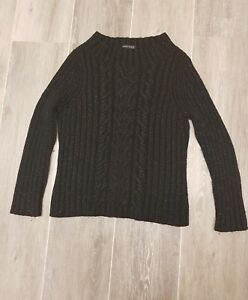 ANNE KLEIN NEW YORK - BLACK JUMPER WITH SILVER THREAD - SIZE US SMALL