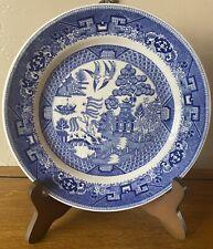 "BLUE WILLOW Buffalo Pottery Semi-Vitreous Restaurant Ware 9 1/2"" Dinner Plate"