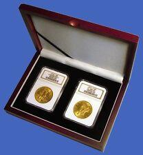 Display Box 2 Coin NGC/PCGS/Premier/Lil Bear Certified Slab Wood Mahogany Finish