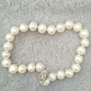 "Dainty White 7.5"" South Sea Pearl Bracelet 14K White Gold P Fishtail Clasp"