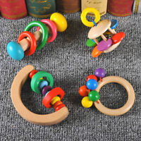 Colorful Wooden Baby Rattles Hand Bell Grasp Toy Musical Educational Toy TOP