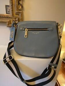 Large Marc Jacobs Gotham Nomad Saddle Bag In Dolphin Blue Pebbled Leather