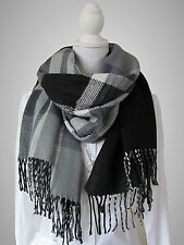 Winter Schal Plaid Strickschal Tweed Fransen wendbar - Karo schwarz weiß grau