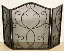"Fireplace Screens - ""Castello Toledo"" Scroll Fireplace Screen - Bronze Finish"