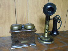VINTAGE WESTERN ELECTRIC CANDLESTICK PHONE WITH RINGER BOX  1904