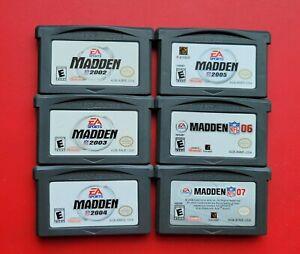6 Madden NFL 2002 2003 2004 2005 06 07 Game Boy Advance EA Sports Football Game