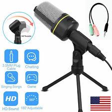 3.5mm Condenser Microphone Tripod Desktop Audio Recording For PC Computer Phone