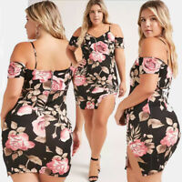 Women Plus Size Dress Bodycon Evening Cocktail Slit Skirt Cold Shoulder Casual