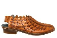 RIEKER Antistress Brown Leather Woven Sling Back Sandal Shoe Womens 40/9-9.5