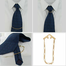 Foster USA Tie Chain Mens Yellow Gold Tone Figaro Button Hole Attachement