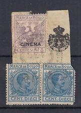 1914 MARCHE DA BOLLO CINEMA + TASSA FISSA 5 CENTESIMI + 10 CENT. USATA SU FRAMM.
