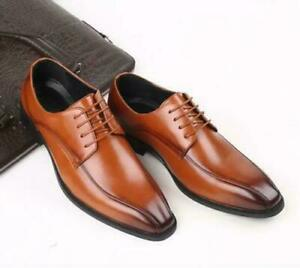 Men British Business Formal Dress Leather Shoes Lace Up Oxfords Brogue Shoes FLO