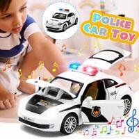 Police Car Truck Model Kid Toy Pull Back Sound Lights Open Door Vehicle Gift