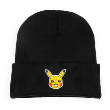 Pokemon Pikachu Unisex Beanie Winter Ski Cap Knitted Warm Baggy Skull Hat Black