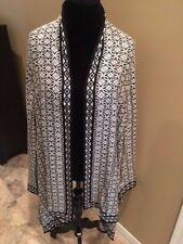 Chico's NWT Black/white Jacquard duster length  jacket/sz 3