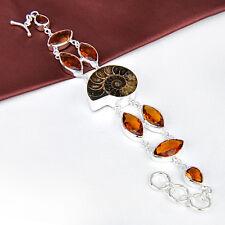 Natuaral Handmade Ammonite Fossile Gems + Brazil Citrine Silver Chian Bracelet