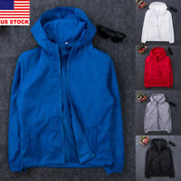 Men's Fashion Windbreaker ZIPPER Jacket Hoodie Sports Outwear Coat Gym US New