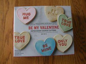 Williams Sonoma Conversation Valentine Heart Cookie Cutter Set-True Love,Hug Me