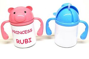 Personalised Childs 2 handle white drinks mug with Pink or Blue lid
