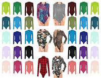 New Ladies Womens Printed Polo Turtle Polo Neck Bodysuit Leotard Long Sleeve Top