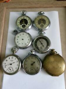 VINTAGE LOT OF POCKET WATCH MOVEMENTS x 7 - Ingersoll and Smiths!