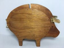 """Handcrafted Wood Pig Knife Block 11"""" Kitchen Storage Country Decor"""