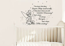 Vinyl Wall Decal Sticker Peter Pan Never Land Kids Tinkerbell Nursery r1545