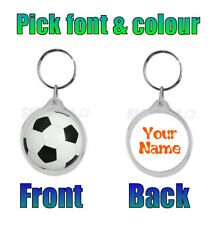 Personalised (WITH YOUR NAME) Football School Bag ROUND Keyring New