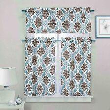 Brown & Blue 3 Pc Sheer Window Curtain Set: Medallion Design, 2 Tiers, 1 Valance