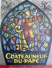 """""""CHATEAUNEUF-DU-PAPE"""" Affiche originale entoilée  litho années 50   52x67cm"""