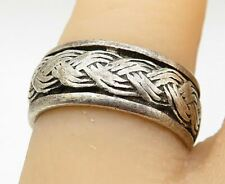 925 Sterling Silver - Etched Braided Detail Round Band Ring Sz 6 - R10364