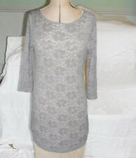 TOPSHOP STRETCH LACE MINI DRESS MUSHROOM 3/4 SLEEVES SIZE 12 CLUB EVENING DAY
