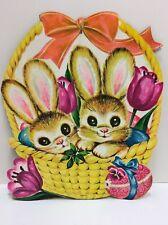 Vintage  LARGE Easter Bunny Decoration Die Cut Cardboard Bunnies In A Basket