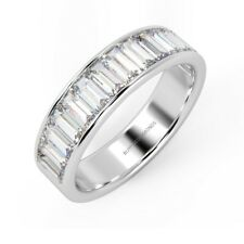 1.20Ct Baguette Diamond Channel Set Half Eternity Ring, UK Hallmarked Platinum