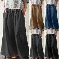 Women Oversized Elastic Waist Chino Pants Casual Loose Wide Leg Palazzo Trousers