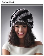 Real natural genuine knitted rex rabbit fur hat women's Winter Warm Hats ladies