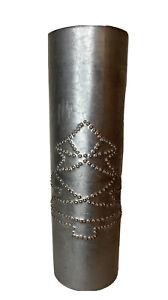"Vintage Primitive Folk Art Punch Tin Wall Candle Holder Christmas Tree 10"""